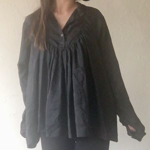 AllSaints Black Silk Blouse